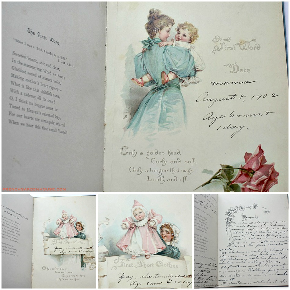 Antique Victorian Frances Brundage Baby Book