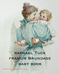 Antique Illustrated Frances Brundage Baby's Book Color Lithographs Tuck