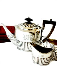 Sterling Silver English Three-Piece Bachelor Tea Service
