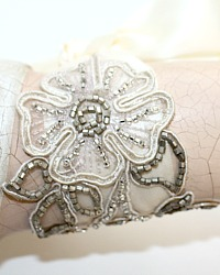 One of a Kind French 19th Century Beaded Floral Ribbon Cuff Bracelet