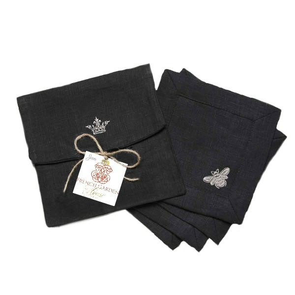 French Bee Linen Cocktail Napkin Set