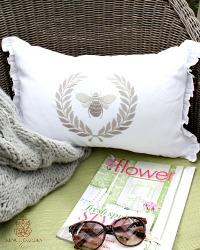 European White Linen Napoleonic Bee Pillow