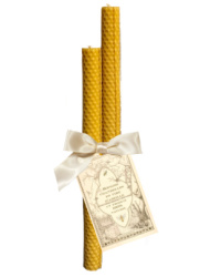Hand Rolled French Beeswax  Taper Candles Gift Set