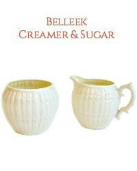 Vintage Belleek Limpet Creamer and Sugar Set
