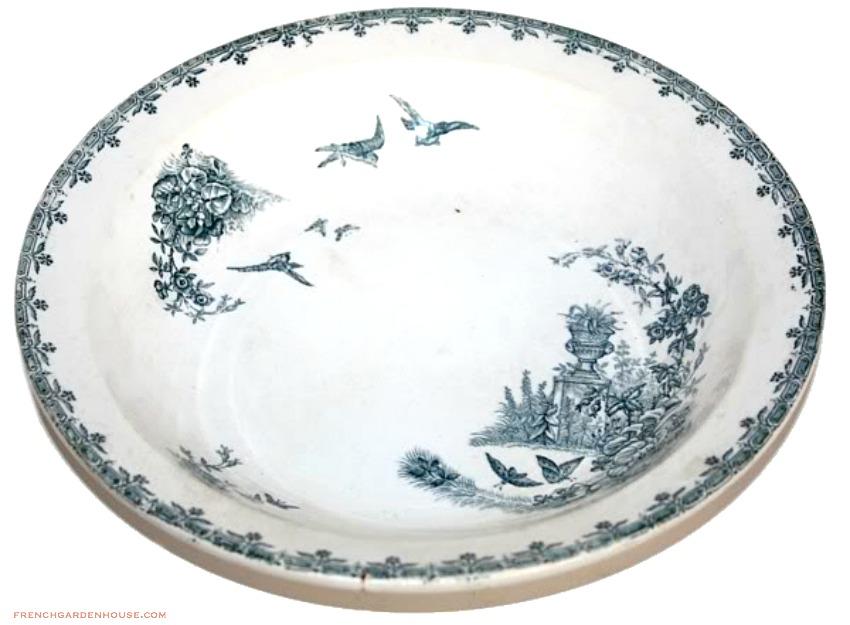 Antique French Ironstone Terre de Fer Serving Bowl Blue Birds