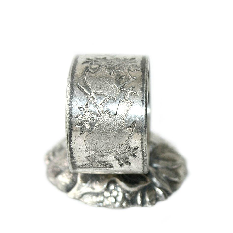 Antique Quadruple Silver Plate Birds Standing Napkin Ring
