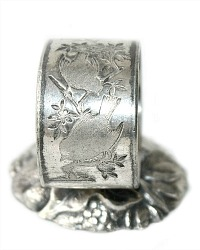 Antique Quadruple Silver Plate Birds Standing Napkin Ring