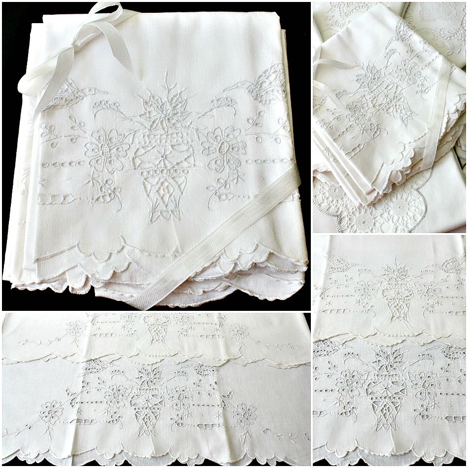 Antique Linen & Cotton Hand Embroidered Pillowcases Birds