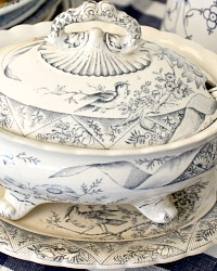 Antique English Blue Transferware Aesthetic Bird Covered Sauce Tureen Underplate & Ladle