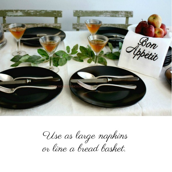 Organic White Linen Bon Appetit Hand or Dish Towel