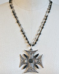 Victorian Black Maltese Cross Pendant Necklace