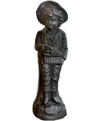 French Country Boy with Fruit Basket Metal Figure