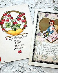 Set of 3 Vintage Valentine's Day Postcards Bleeding Heart