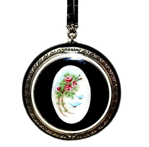 Antique Guilloche Black Pink Roses & Bluebirds Compact Necklace