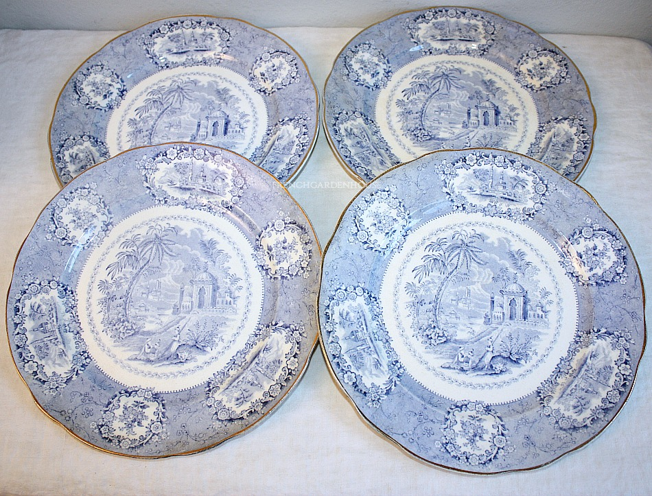 19th Century Blue Chinoiserie Staffordshire Plates Set of 4