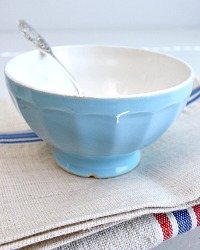 Antique French Cafe au Lait Bol Blue