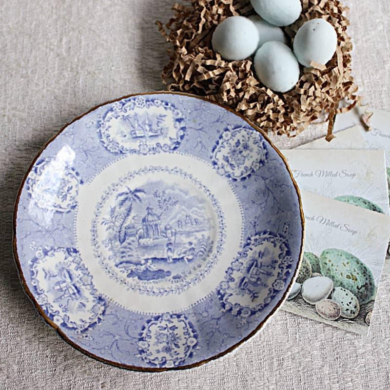 Blue Robin's Egg Soaps & Antique Dish