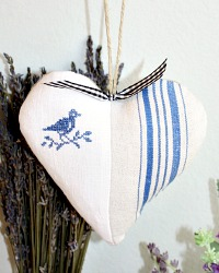 French Country Hand Made Antique Linen Lavender Sachet Bird Blue