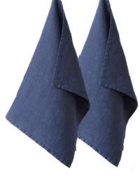 European Country Linen Tea Towels Set of 2 Marine