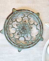 Antique French Aqua Enamel Trivet