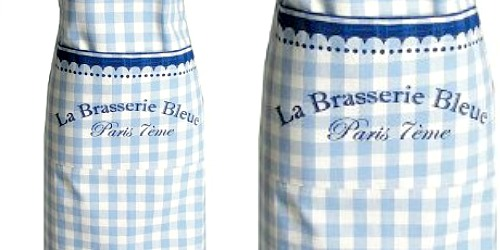 La Brasserie Bleue French Apron Gingham Check
