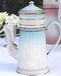 Glorious French Antique Light Blue & White Enamelware Biggin
