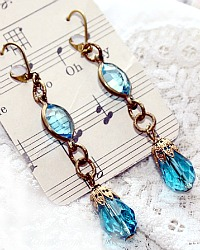 Limited Edition Gulf Breezes Aqua Blue Crystal Earrings