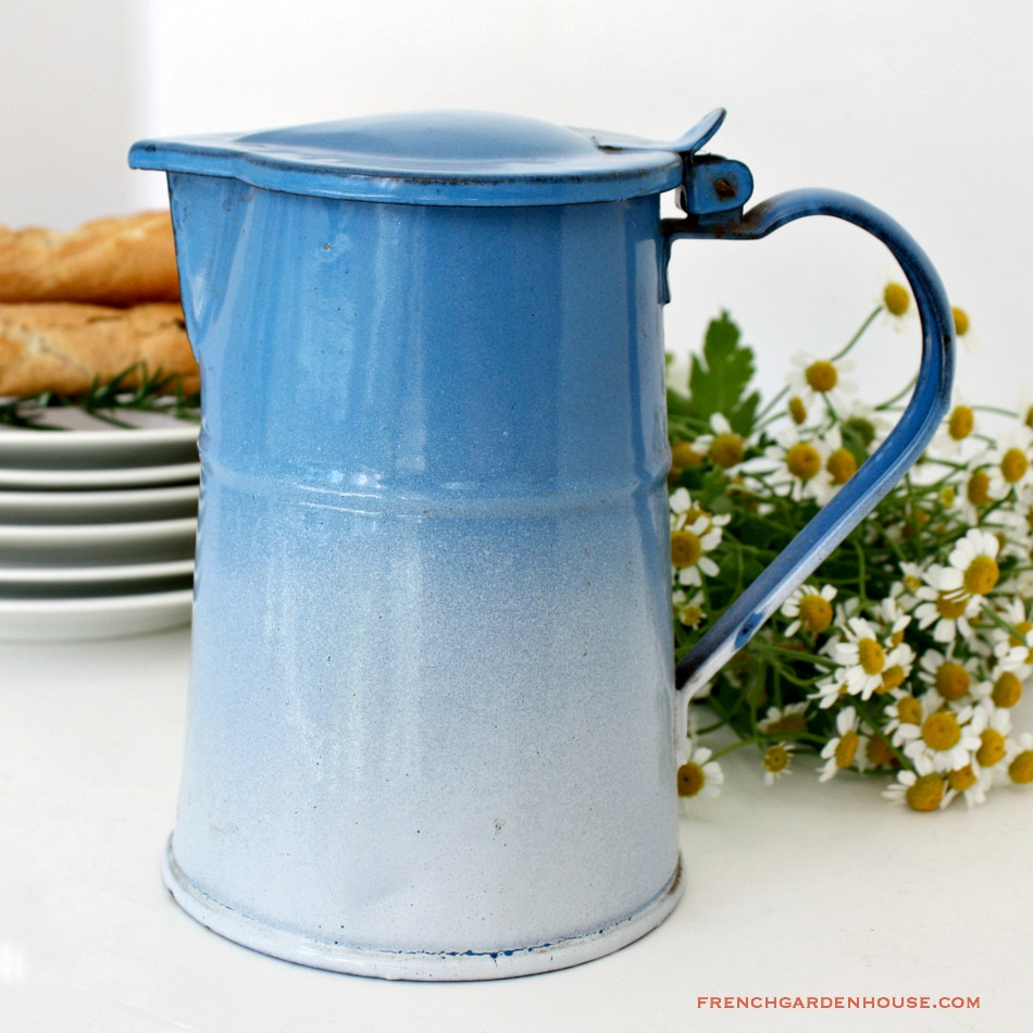 Antique French Enamelware Blue Covered Pitcher