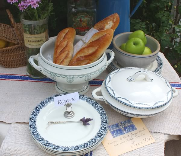 Antique French Country Blue & White Faience Plate Set of 4