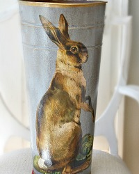 Limited Edition French Country Flower Bucket Hare Bleu