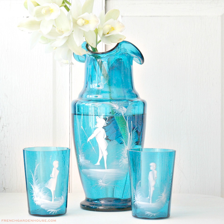 Antique Bohemian Turquoise Blue Hand Blown Glass Enameled Pitcher and Glass Set Mary Gregory