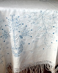 Exceptional Antique 19th Century Blue & White Embroidered Tablecloth Monogram