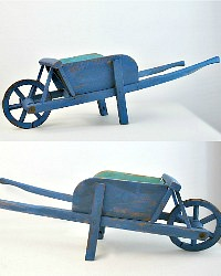 Rare Antique French Country Children's Wood Wheelbarrow