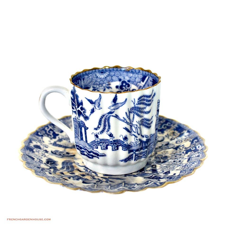 Antique 19th Century Copeland Chelsea Gilt Blue Mandarin Demitasse