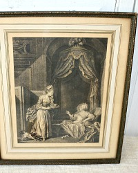 Antique French Boudoir Print Hand Colored Gilt Gesso Frame