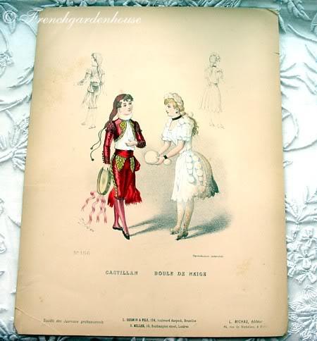 Antique French Costume Pochoir Print 1800s Snowball
