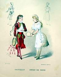 Antique French Costume Pochoir Print 1800s Snowball