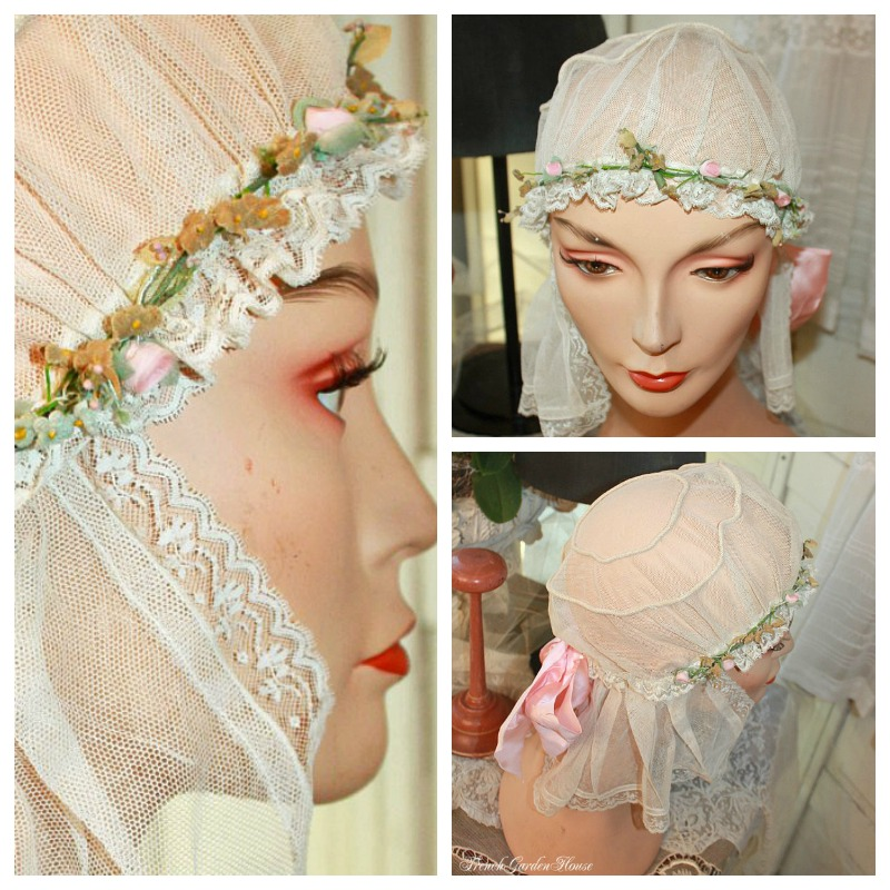 Antique French Net Lace Bridal Boudoir Cap