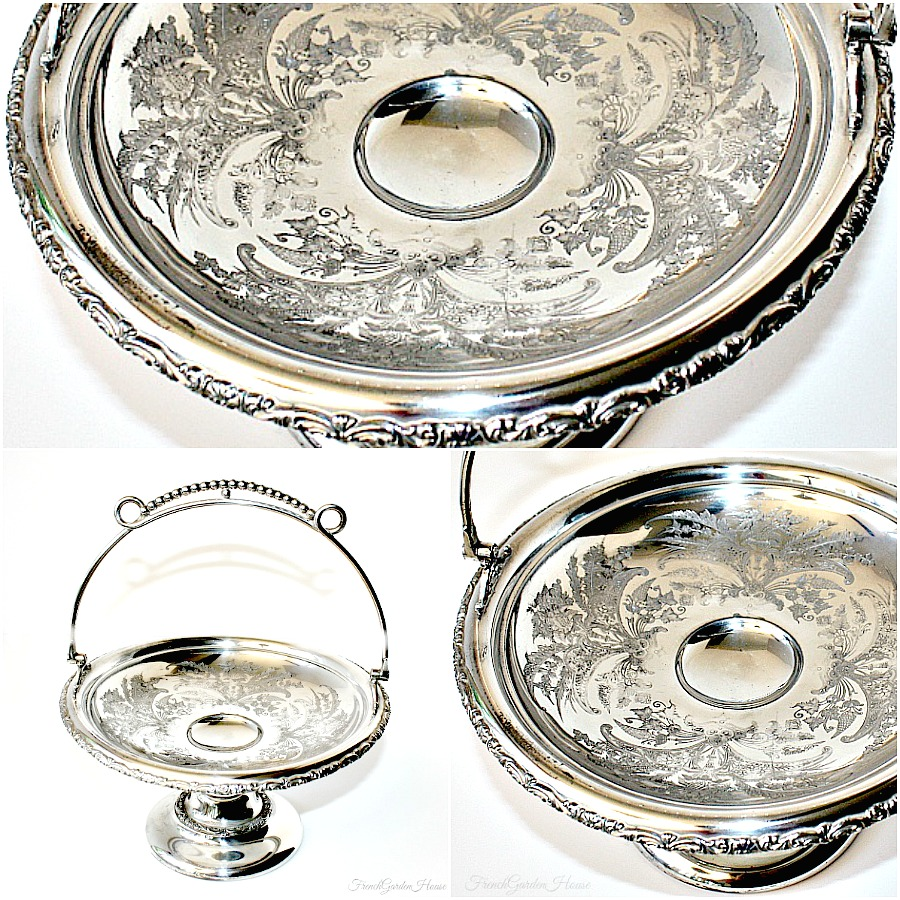 Antique Silver Plate Bride's Basket Floral Footed Centerpiece