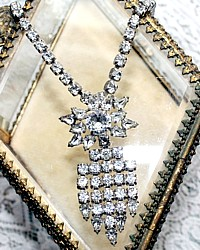Vintage Rhinestone Choker Necklace with Star Waterfall Pendant Brooch