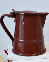 Antique French Country Brown Enamelware Milk Pitcher