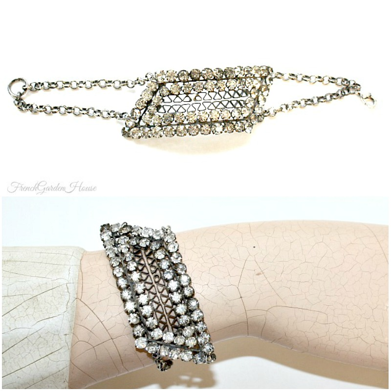 One of a Kind Antique French Rhinestone Shoe Buckle Bracelet
