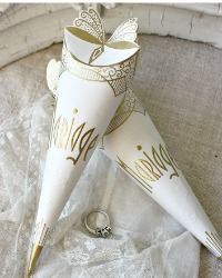 Art Deco French Wedding Favor Cornette Cone Butterfly
