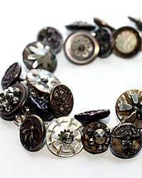 One of a Kind Antique Button Sterling Charm Bracelet