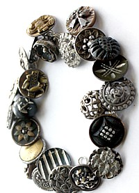 One of a Kind Antique Button Sterling Charm Bracelet Tulips