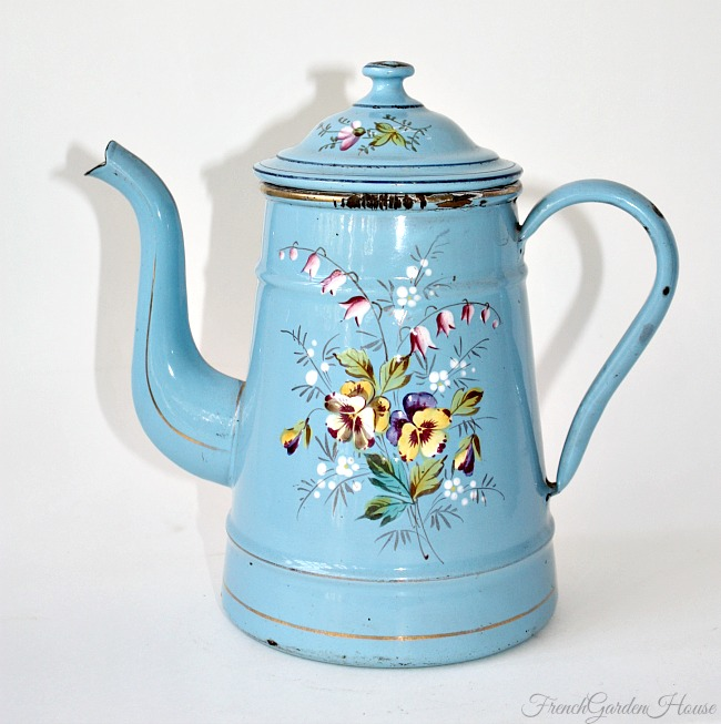 Exceptional 19th Century French Enamelware Hand Painted Cafetiere Pansies