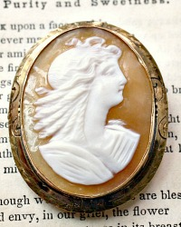 Vintage Hand Carved Cameo Brooch