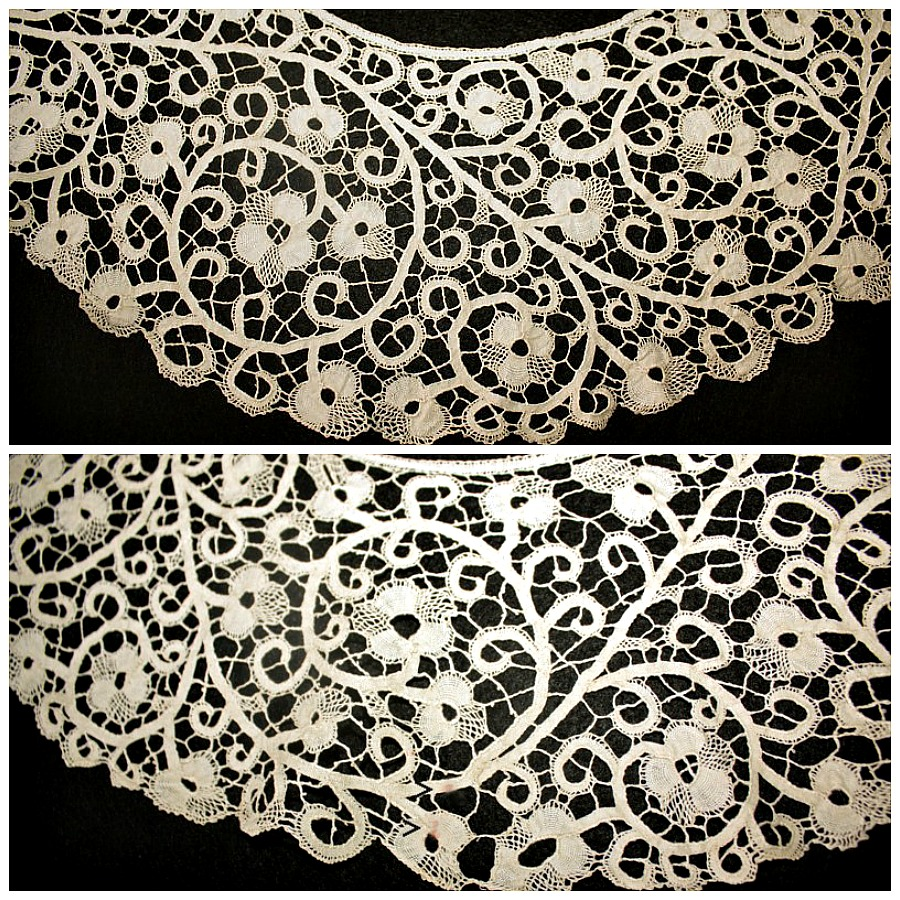 Antique Italian Bobbin Lace Cantu Bertha Collar