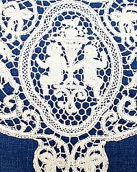 Exceptional Antique Hand Made Cantu Bobbin Lace Cherub Figural Placemats Set of 8