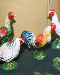 French Country Miniature Hand Painted Les Poulets Set of 4